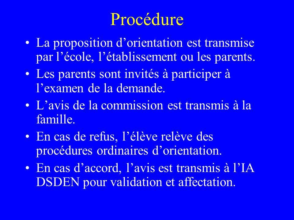 Procédure La proposition d'orientation est transmise par l'école, l'établissement ou les parents.