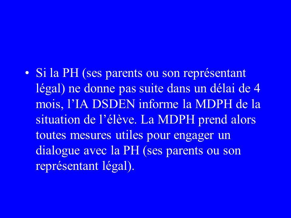 Si la PH (ses parents ou son représentant légal) ne donne pas suite dans un délai de 4 mois, l'IA DSDEN informe la MDPH de la situation de l'élève.