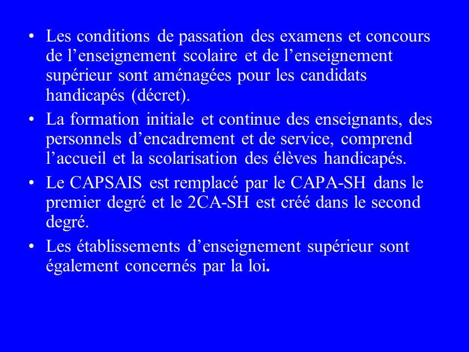 Les conditions de passation des examens et concours de l'enseignement scolaire et de l'enseignement supérieur sont aménagées pour les candidats handicapés (décret).