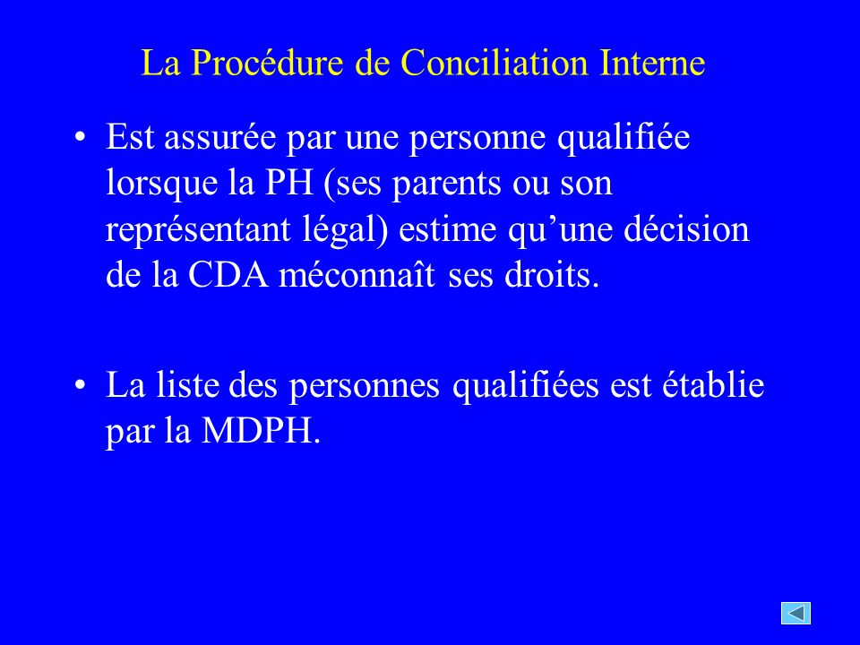 La Procédure de Conciliation Interne