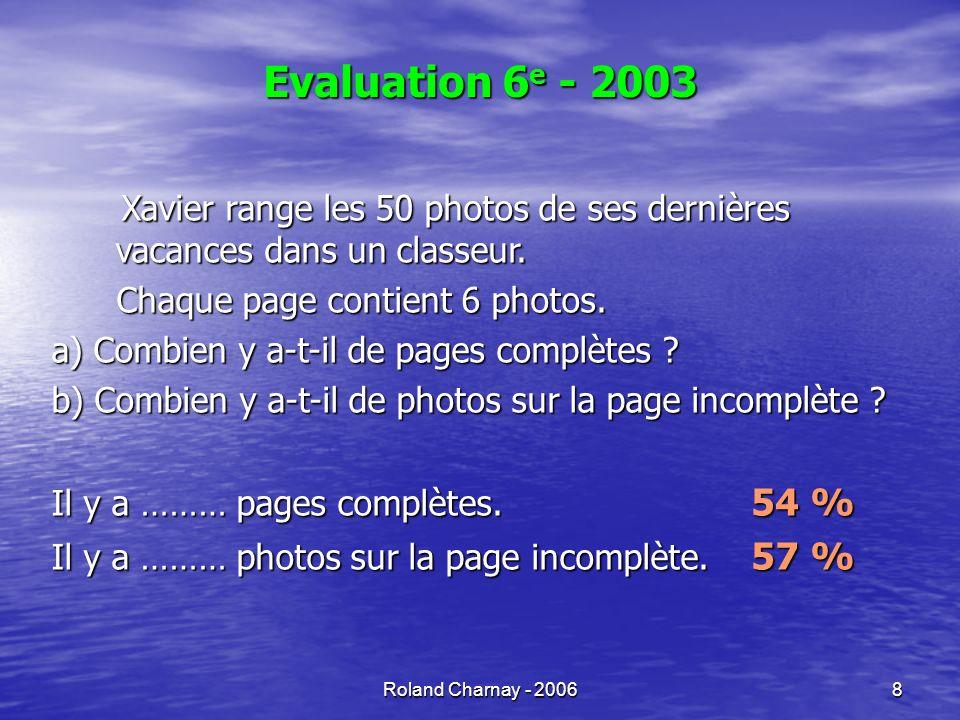 Evaluation 6e - 2003Xavier range les 50 photos de ses dernières vacances dans un classeur. Chaque page contient 6 photos.