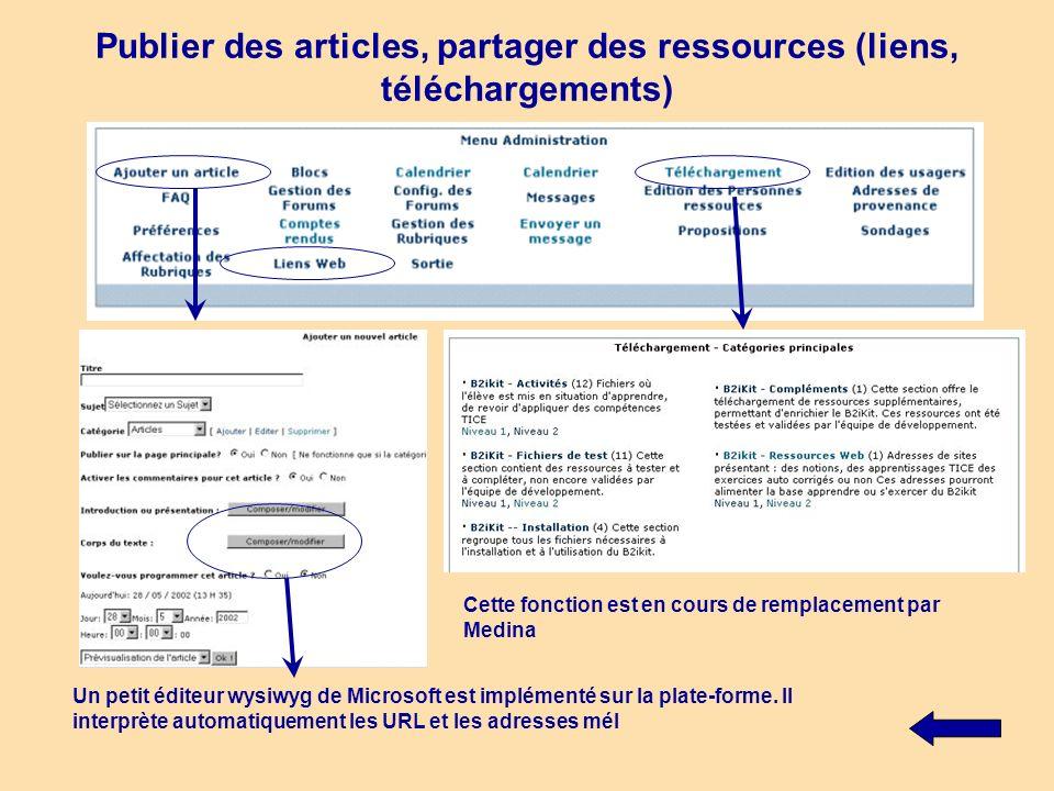 Publier des articles, partager des ressources (liens, téléchargements)