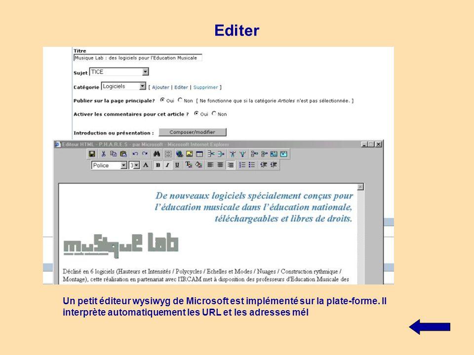 Editer Un petit éditeur wysiwyg de Microsoft est implémenté sur la plate-forme.