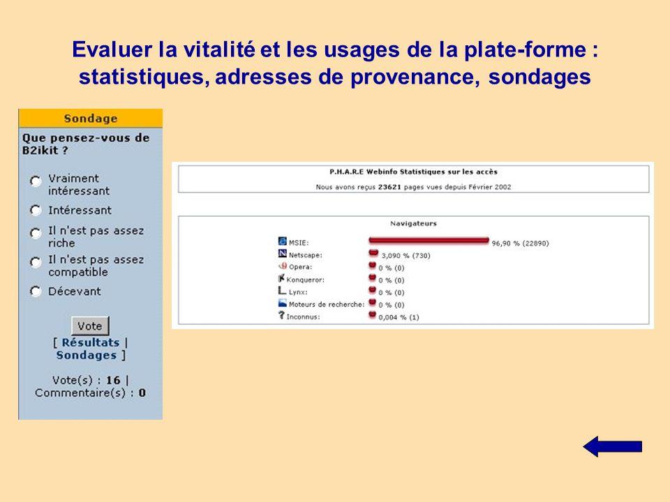 Evaluer la vitalité et les usages de la plate-forme : statistiques, adresses de provenance, sondages
