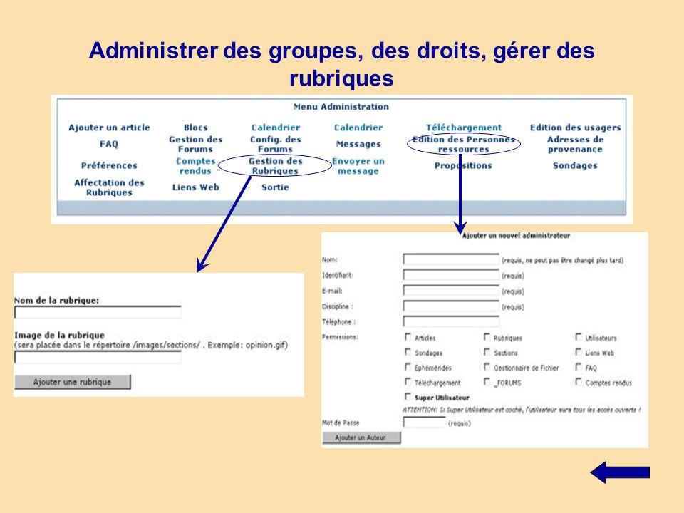 Administrer des groupes, des droits, gérer des rubriques