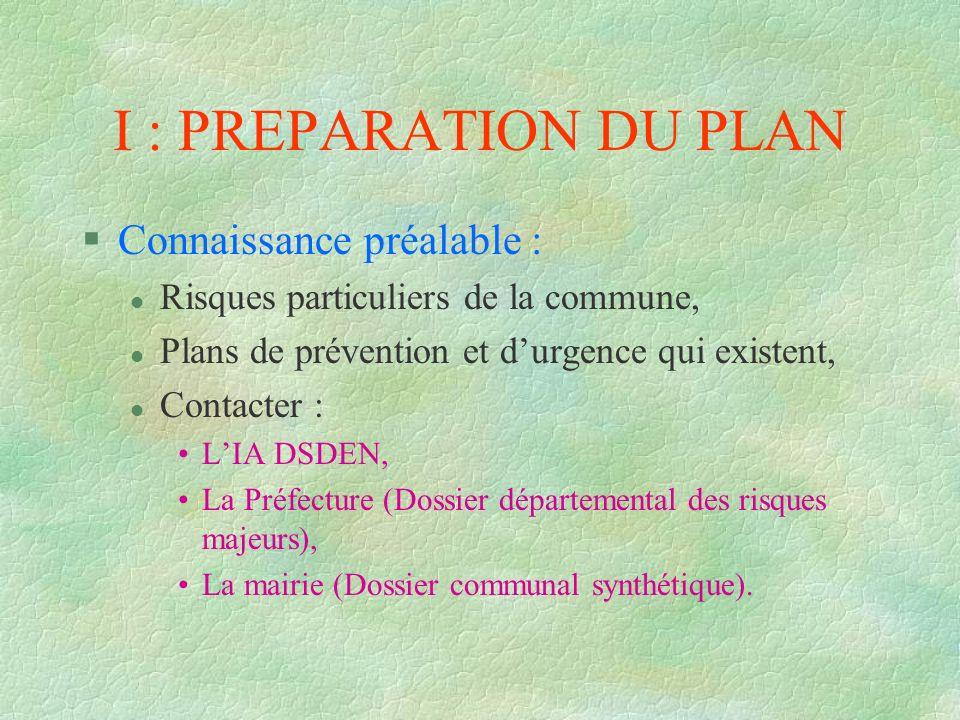 I : PREPARATION DU PLAN Connaissance préalable :