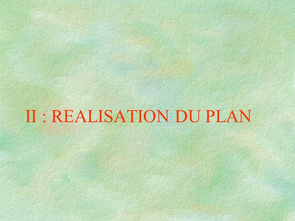 II : REALISATION DU PLAN