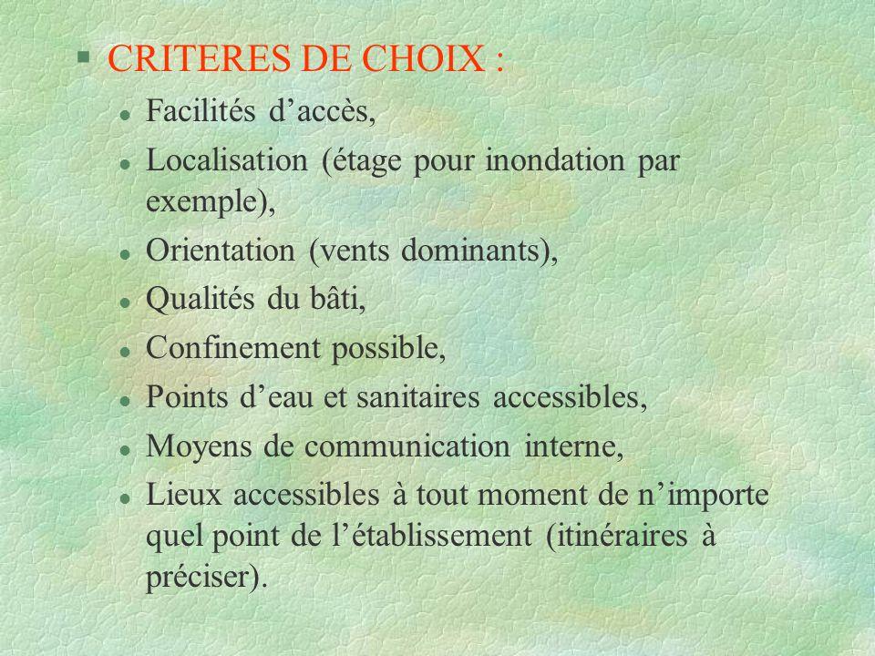 CRITERES DE CHOIX : Facilités d'accès,