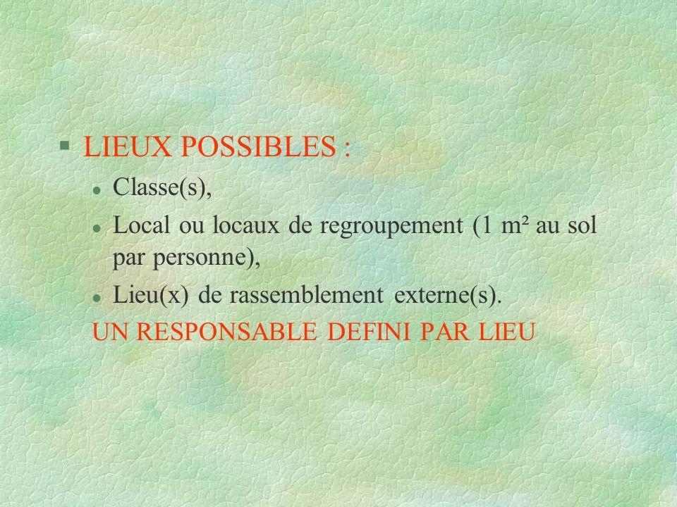 LIEUX POSSIBLES : Classe(s),