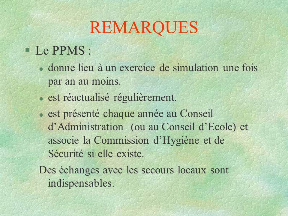 REMARQUES Le PPMS : donne lieu à un exercice de simulation une fois par an au moins. est réactualisé régulièrement.
