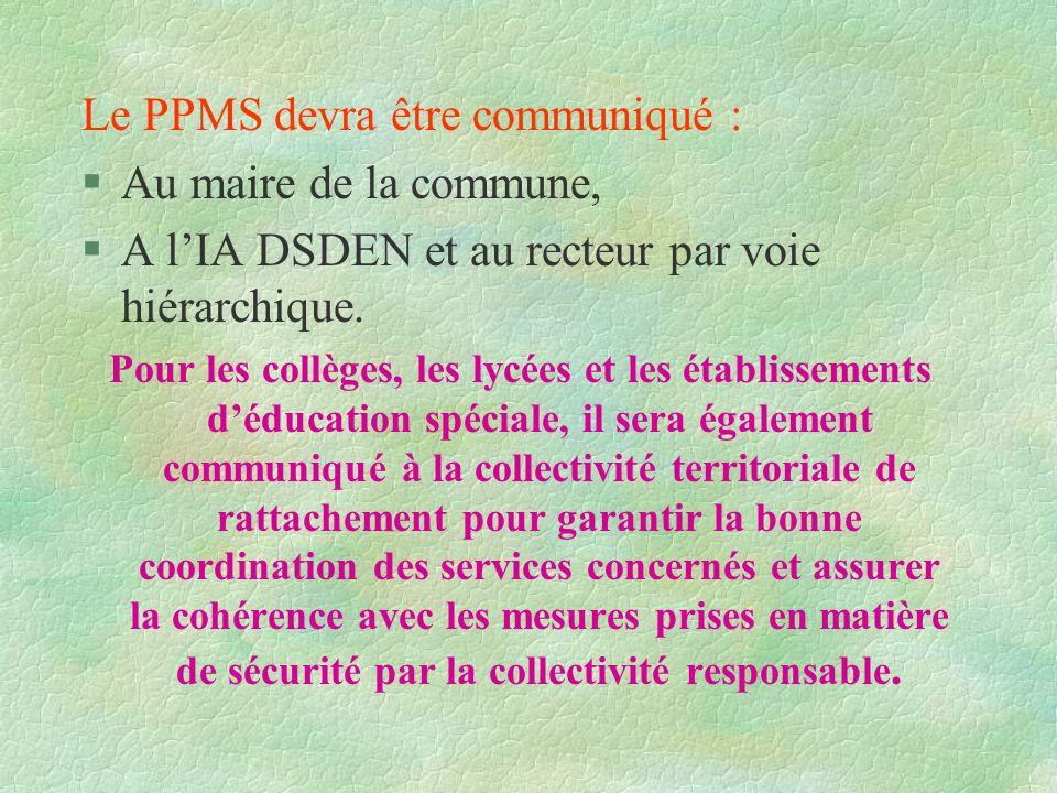 Le PPMS devra être communiqué : Au maire de la commune,