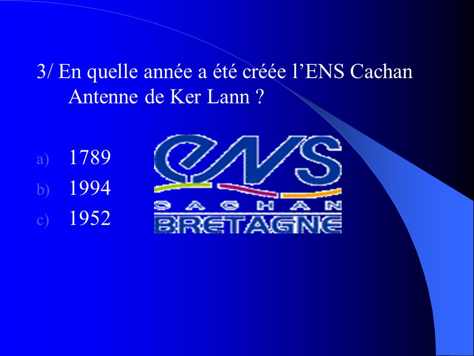 3/ En quelle année a été créée l'ENS Cachan Antenne de Ker Lann