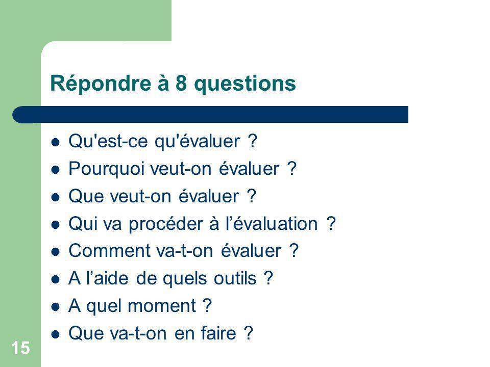 Répondre à 8 questions Qu est-ce qu évaluer