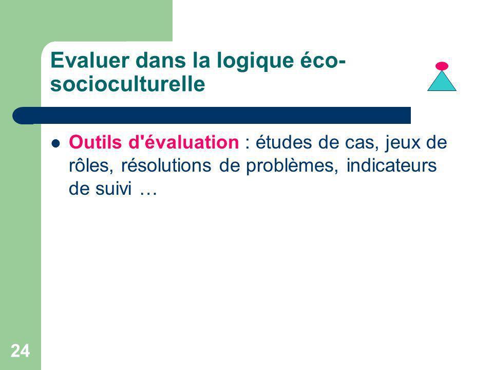 Evaluer dans la logique éco-socioculturelle