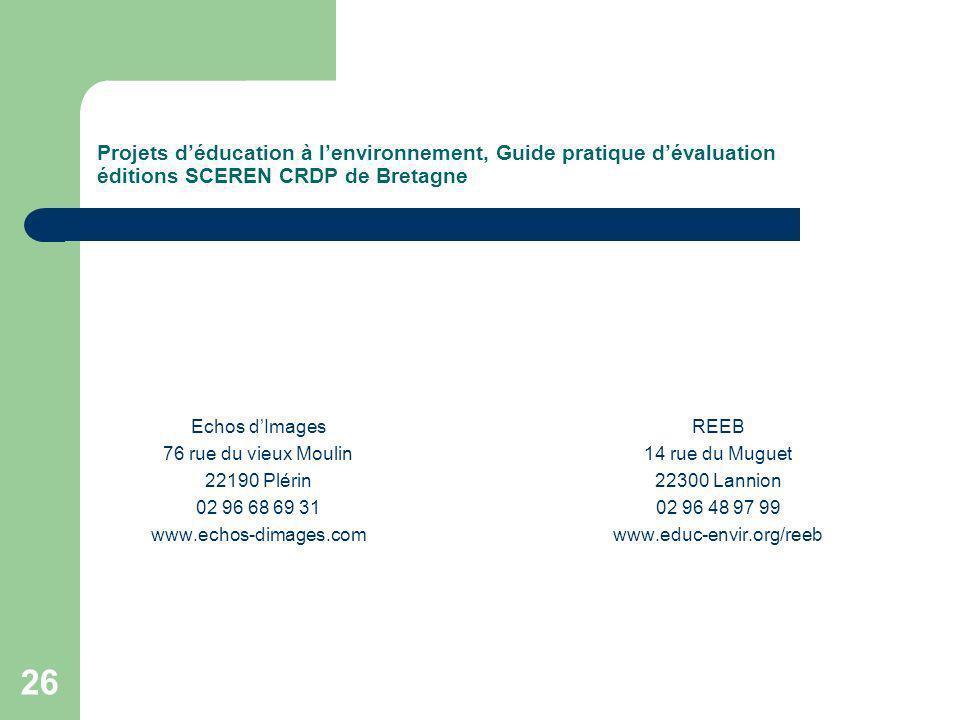 Projets d'éducation à l'environnement, Guide pratique d'évaluation éditions SCEREN CRDP de Bretagne