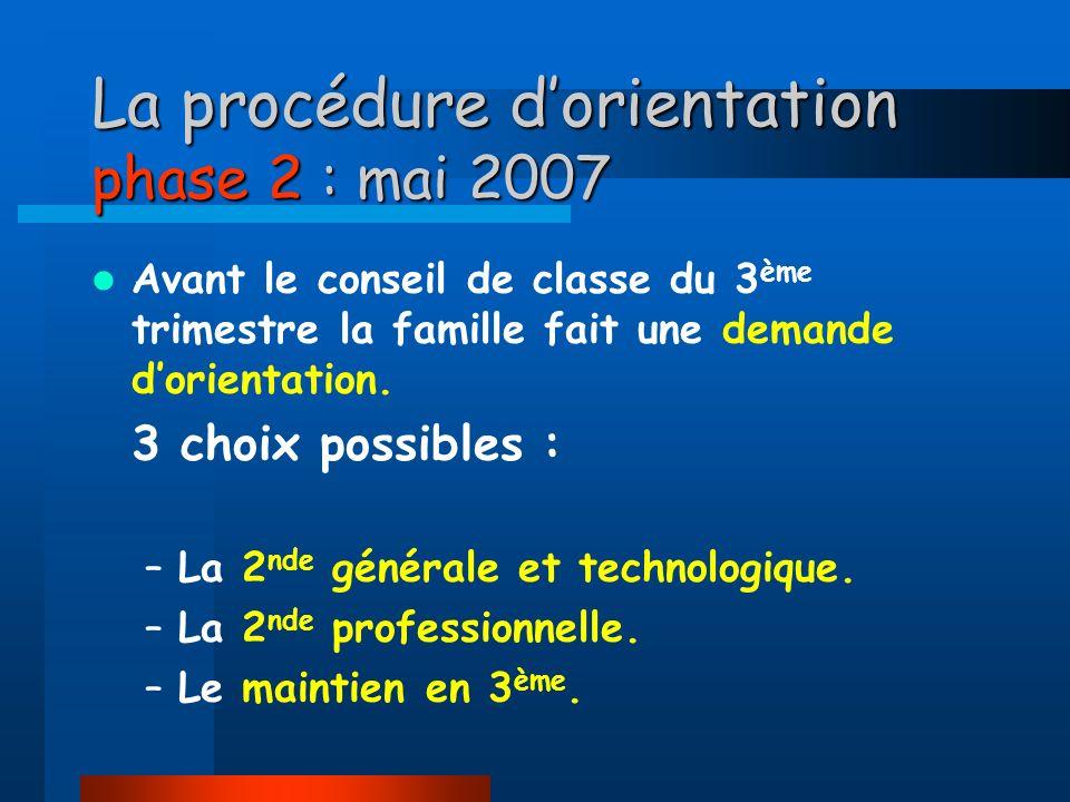 La procédure d'orientation phase 2 : mai 2007