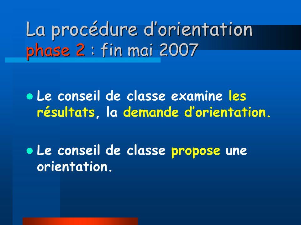 La procédure d'orientation phase 2 : fin mai 2007