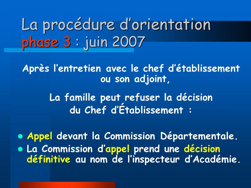 La procédure d'orientation phase 3 : juin 2007