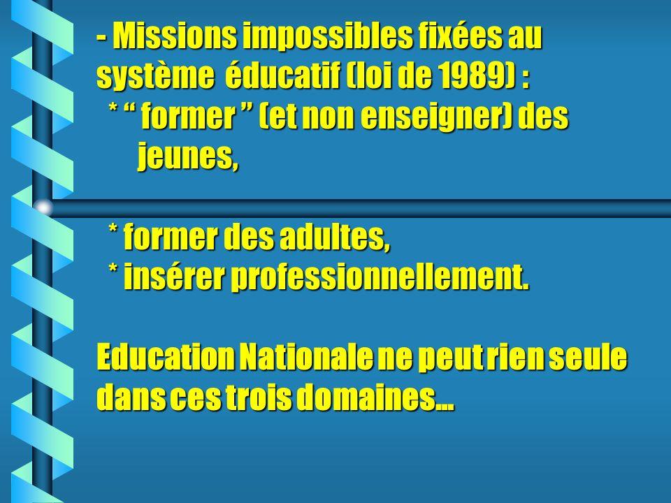 - Missions impossibles fixées au système éducatif (loi de 1989) :