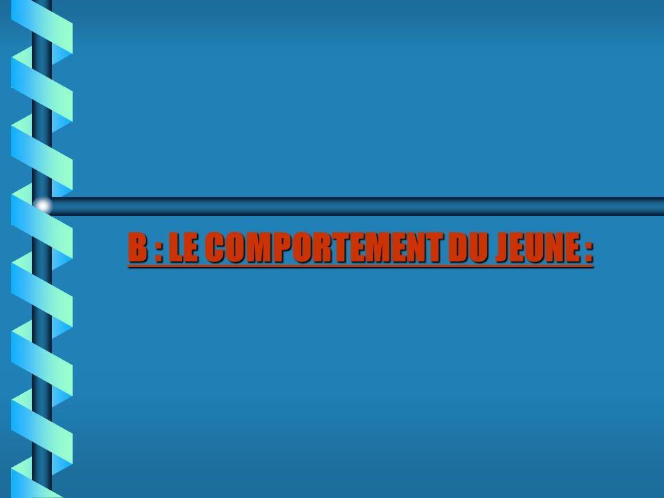 B : LE COMPORTEMENT DU JEUNE :