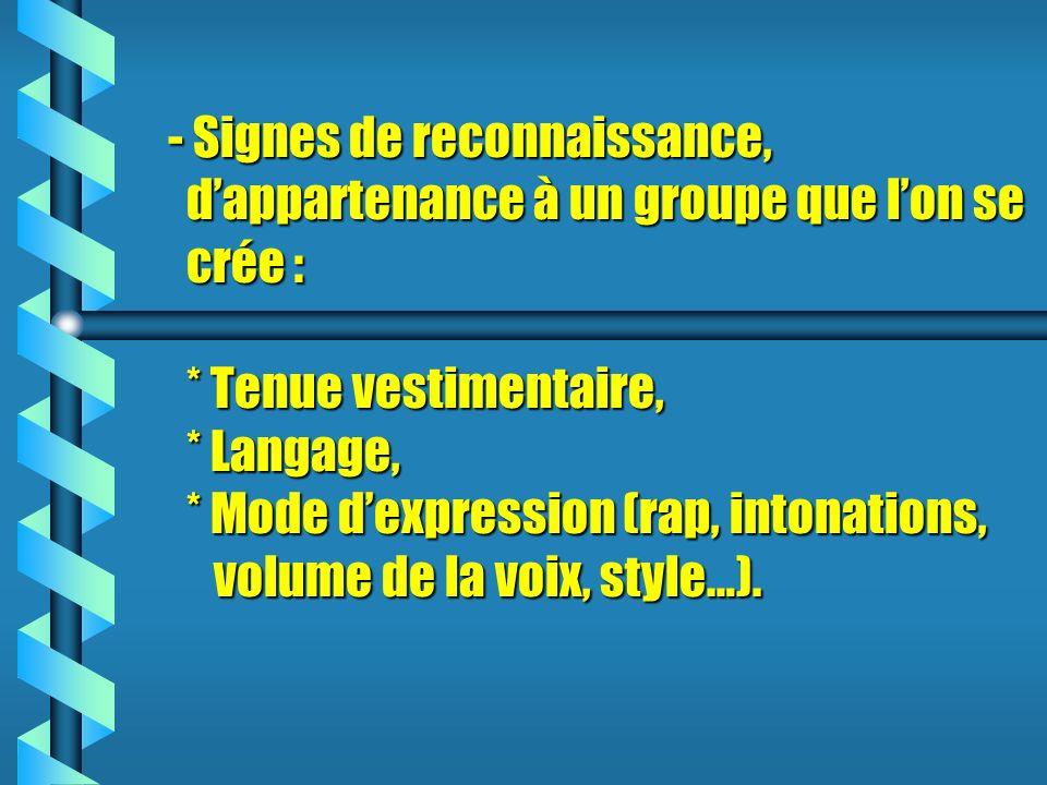 - Signes de reconnaissance, d'appartenance à un groupe que l'on se crée : * Tenue vestimentaire, * Langage, * Mode d'expression (rap, intonations, volume de la voix, style…).