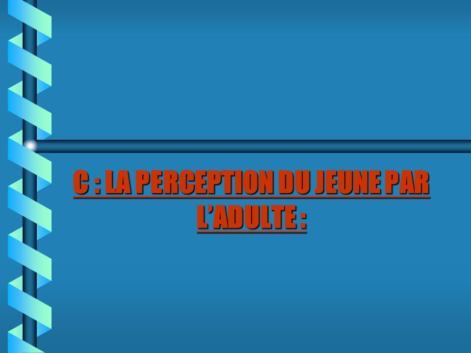C : LA PERCEPTION DU JEUNE PAR L'ADULTE :