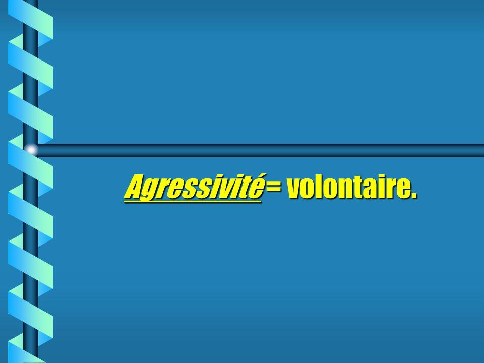 Agressivité = volontaire.