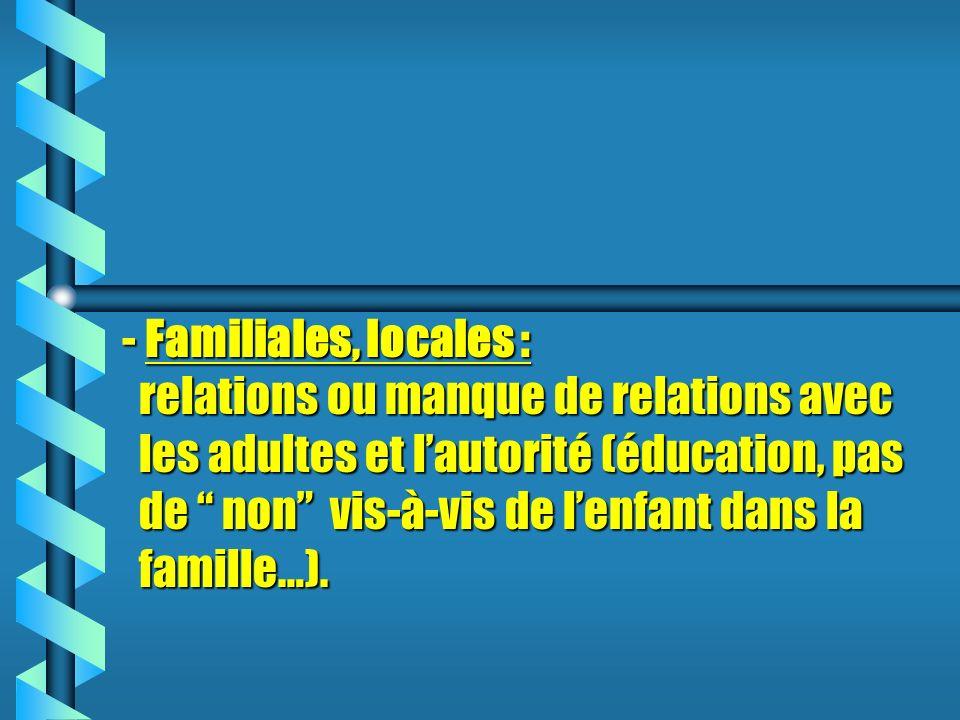- Familiales, locales : relations ou manque de relations avec les adultes et l'autorité (éducation, pas de non vis-à-vis de l'enfant dans la famille…).