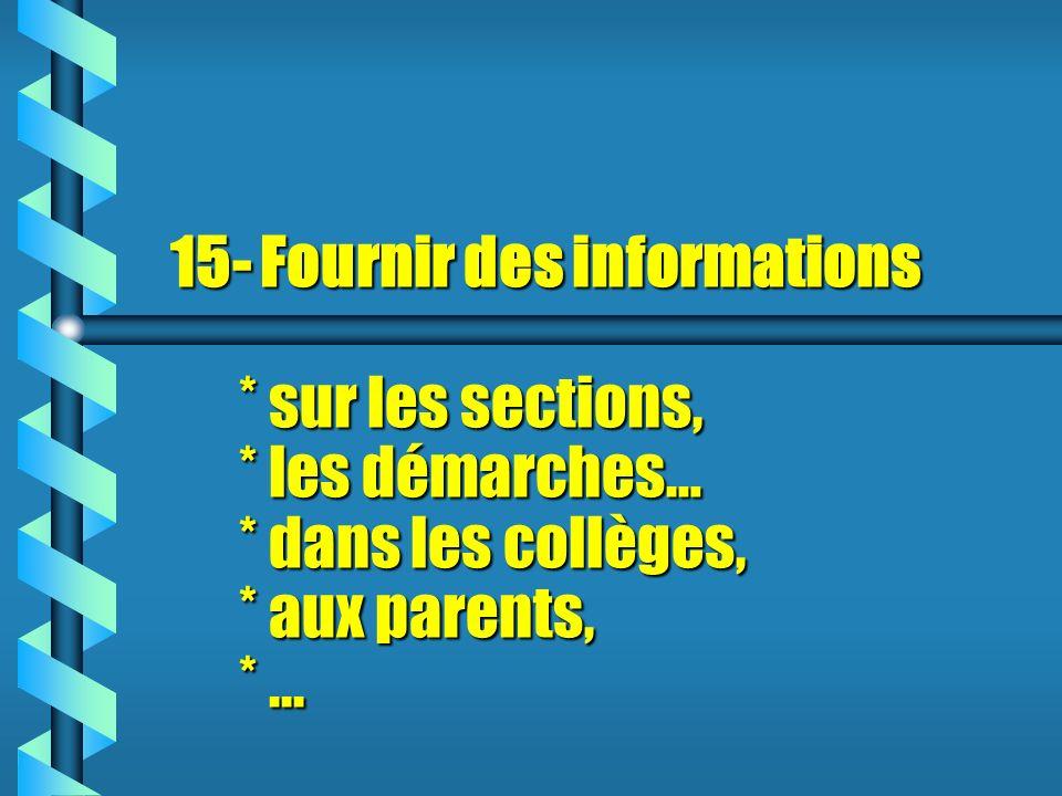 15- Fournir des informations. sur les sections,. les démarches…