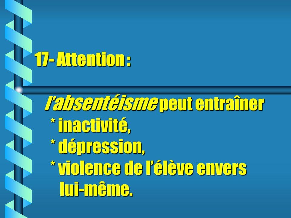 17- Attention : l'absentéisme peut entraîner. inactivité,. dépression,