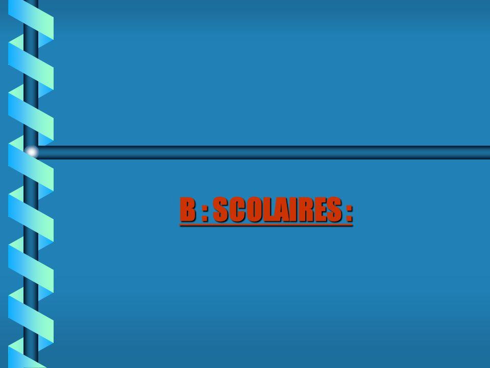 B : SCOLAIRES :