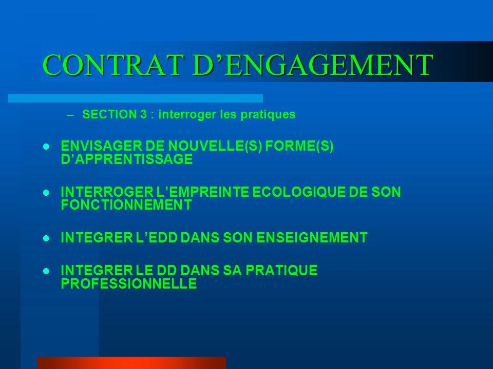 CONTRAT D'ENGAGEMENT ENVISAGER DE NOUVELLE(S) FORME(S) D'APPRENTISSAGE