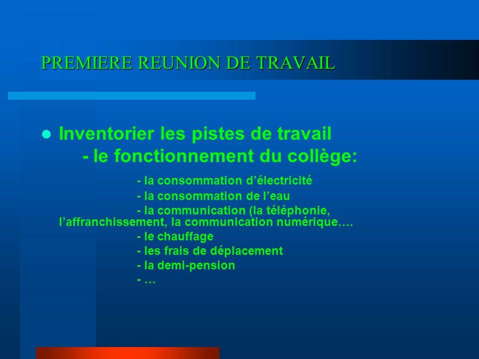 PREMIERE REUNION DE TRAVAIL