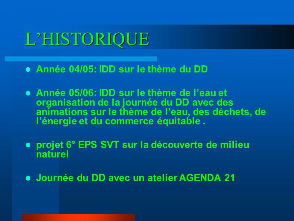 L'HISTORIQUE Année 04/05: IDD sur le thème du DD