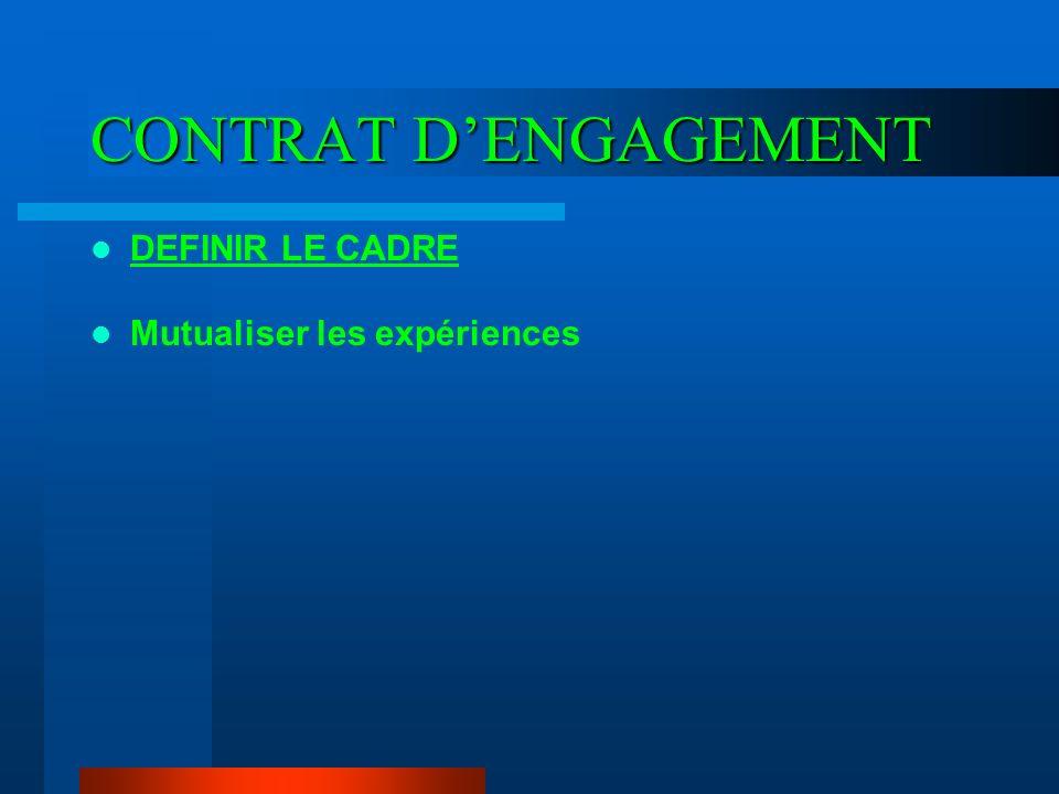 CONTRAT D'ENGAGEMENT DEFINIR LE CADRE Mutualiser les expériences