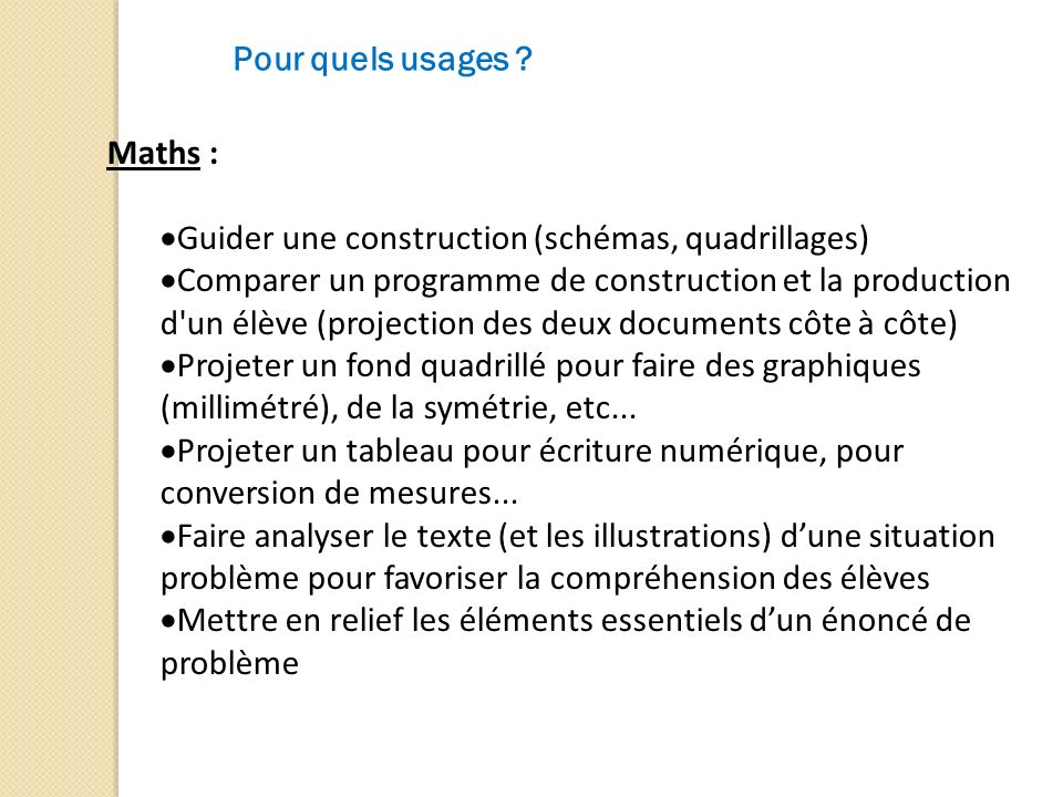 Pour quels usages Maths : Guider une construction (schémas, quadrillages)