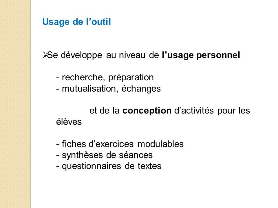 Usage de l'outil Se développe au niveau de l'usage personnel. recherche, préparation. mutualisation, échanges.