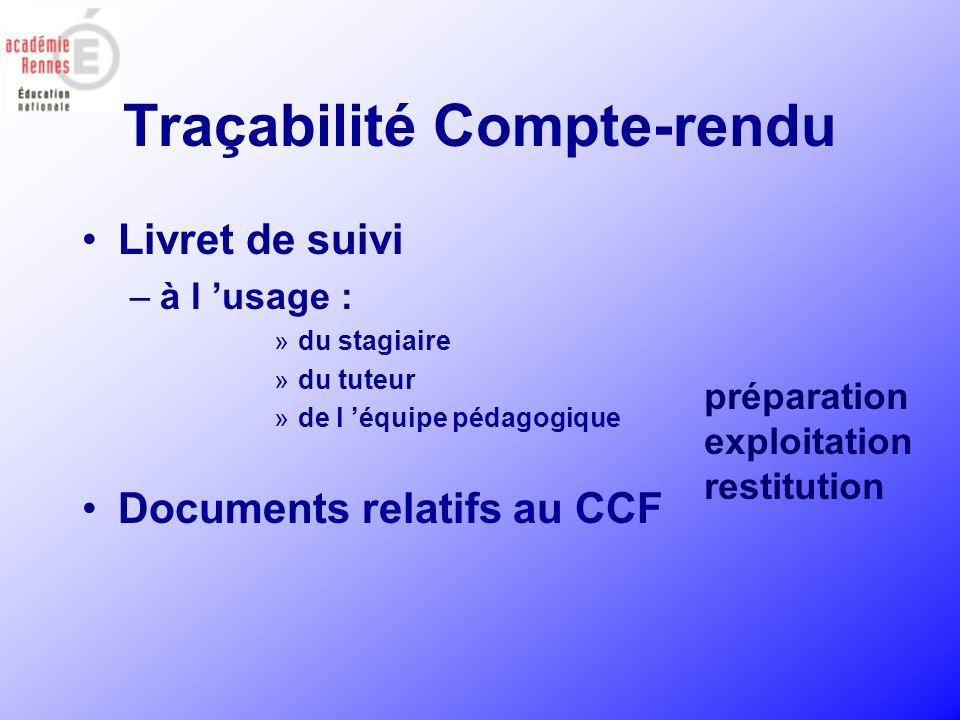Traçabilité Compte-rendu