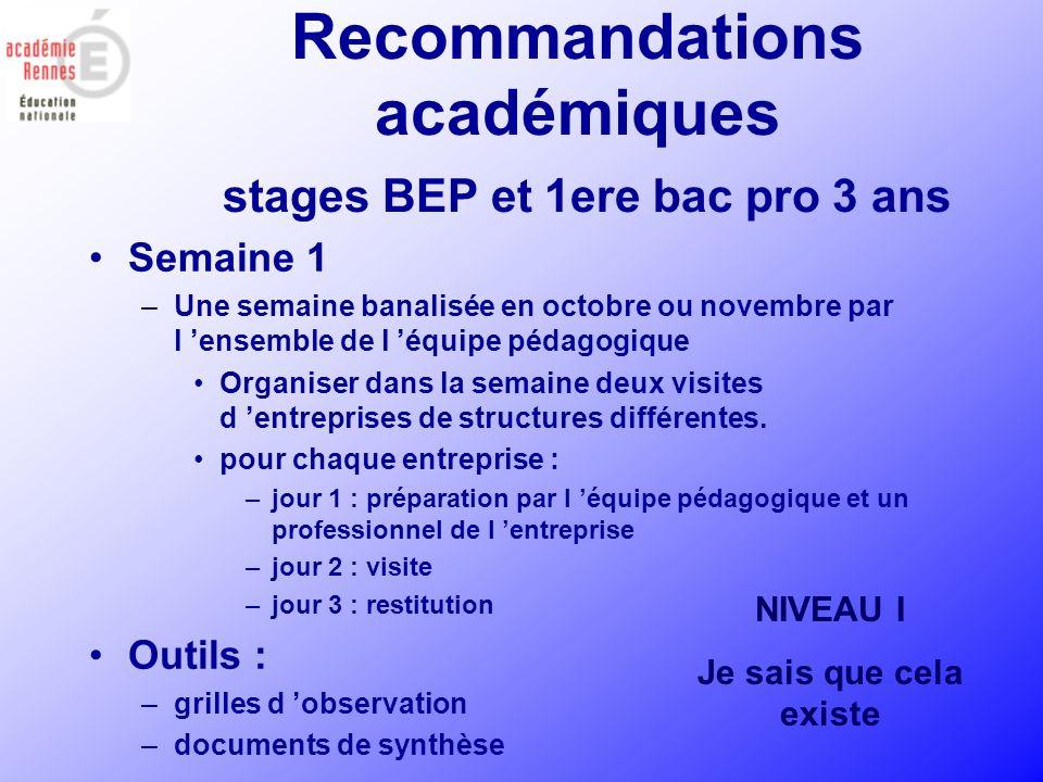 Recommandations académiques stages BEP et 1ere bac pro 3 ans