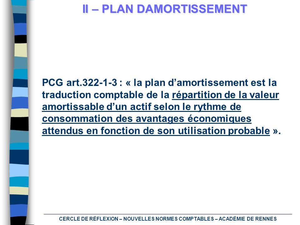 II – PLAN DAMORTISSEMENT