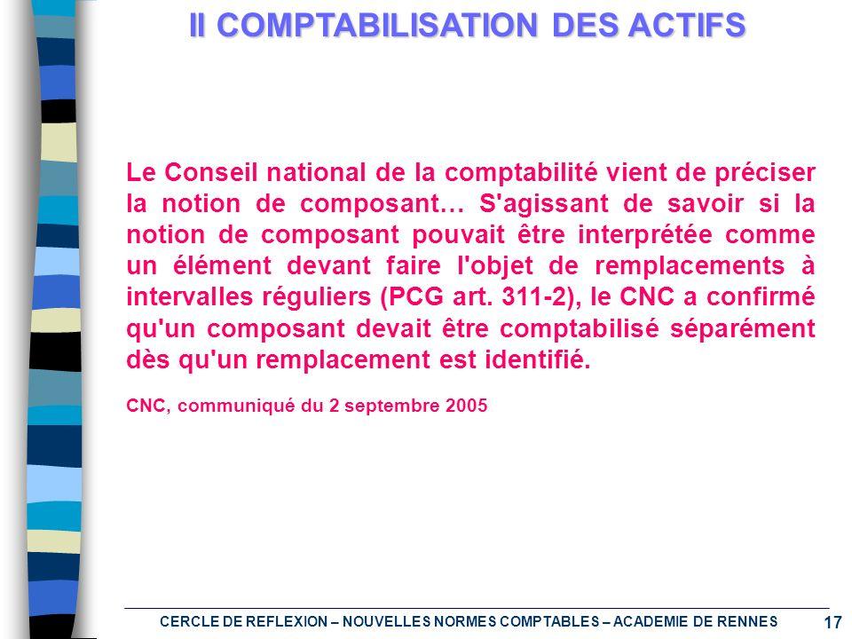 II COMPTABILISATION DES ACTIFS