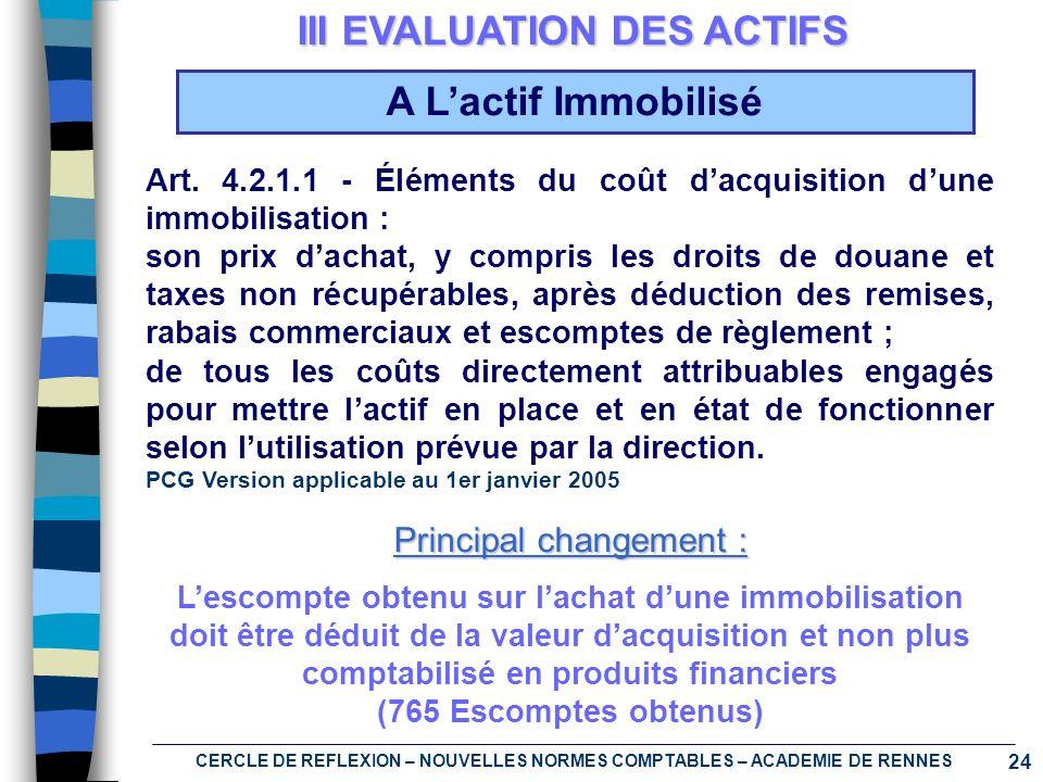 III EVALUATION DES ACTIFS A L'actif Immobilisé