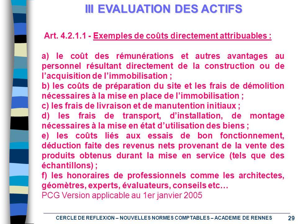 III EVALUATION DES ACTIFS