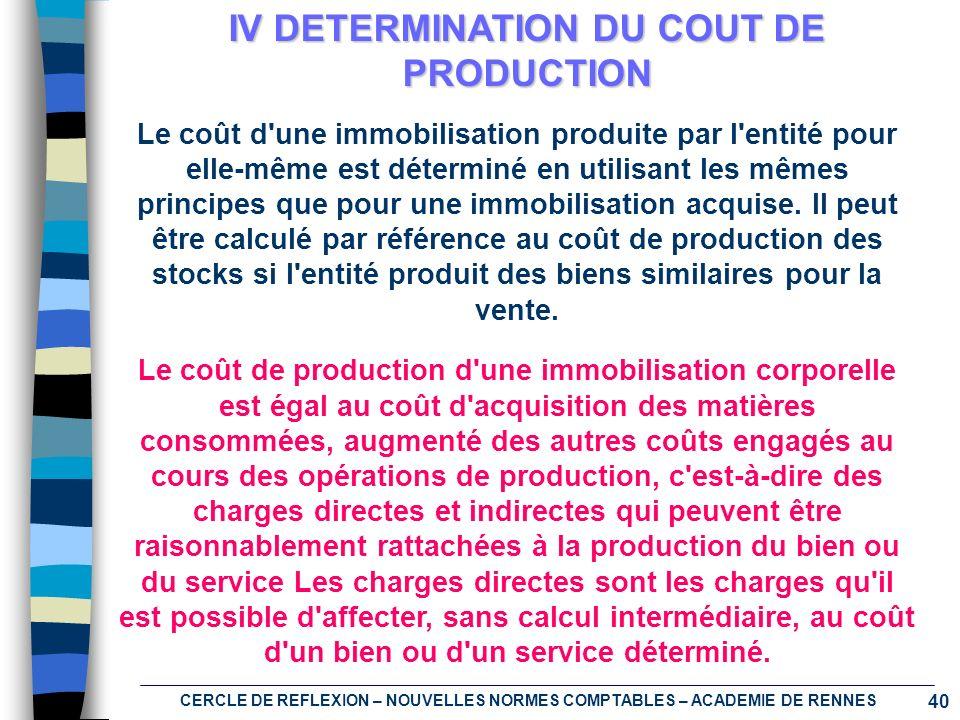 IV DETERMINATION DU COUT DE PRODUCTION