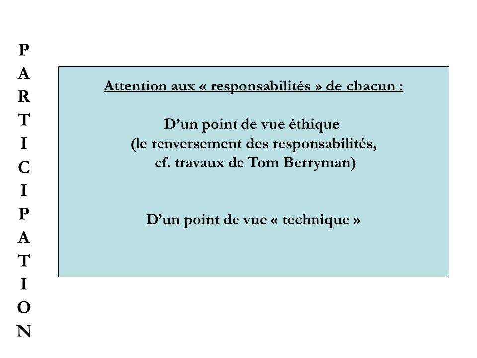 P A R T I C O N Attention aux « responsabilités » de chacun :