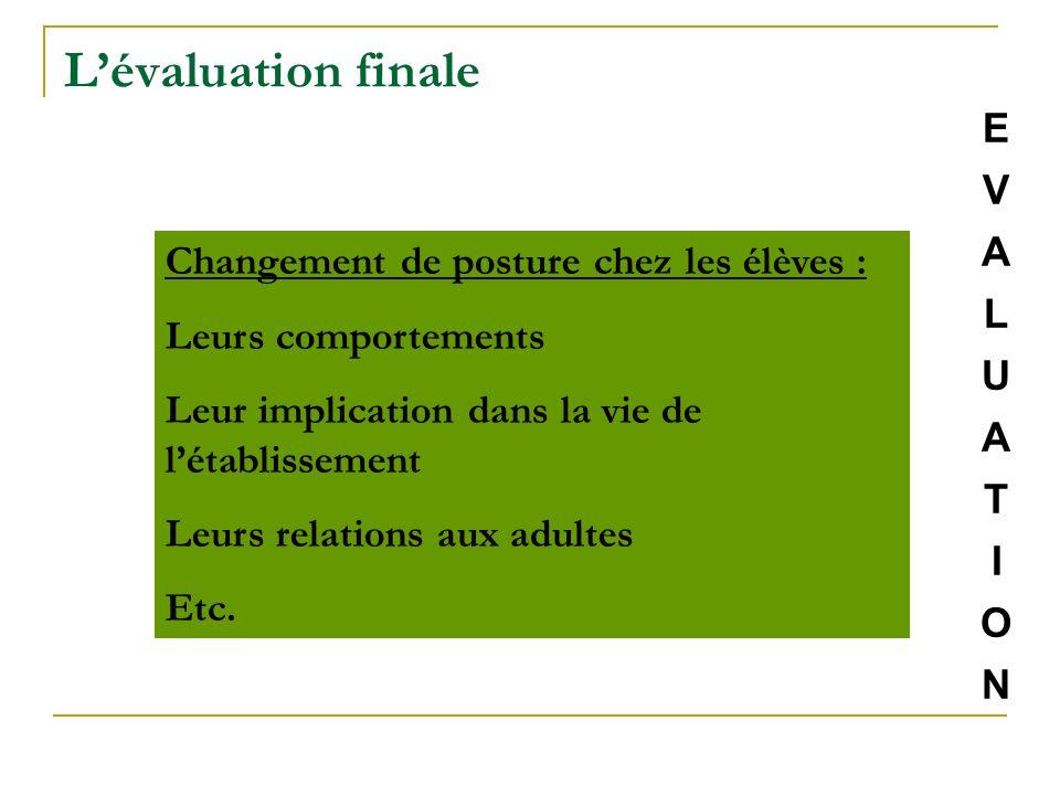 L'évaluation finale E V A L U Changement de posture chez les élèves :