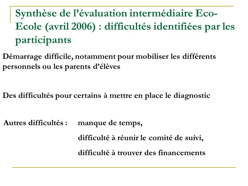 Synthèse de l'évaluation intermédiaire Eco-Ecole (avril 2006) : difficultés identifiées par les participants