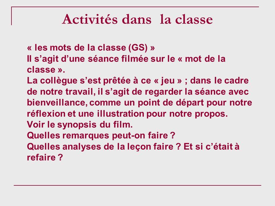 Activités dans la classe