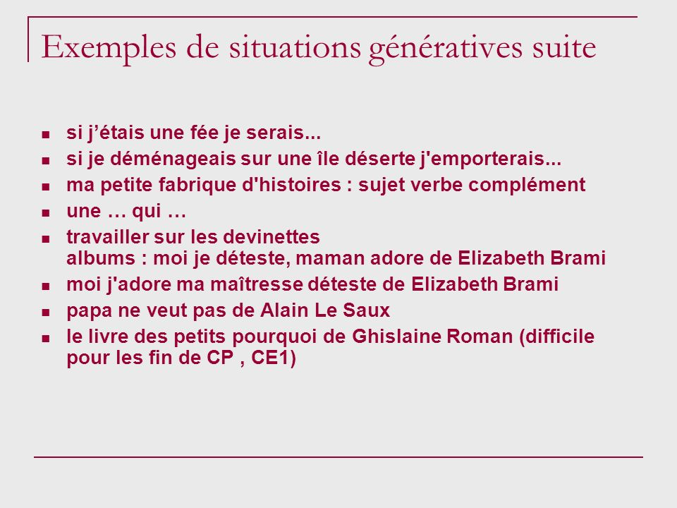 Exemples de situations génératives suite