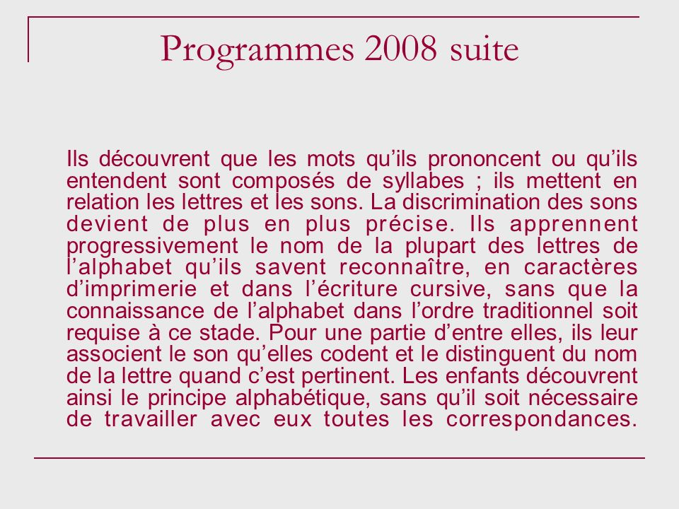 Programmes 2008 suite